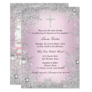 Baptême/baptême argentés roses de flocon de neige carton d'invitation  12,7 cm x 17,78 cm