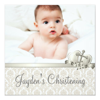 Baptême beige élégant de photo de garçons de carton d'invitation  13,33 cm