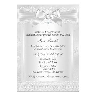 Baptême blanc de baptême de croix de dentelle de carton d'invitation  12,7 cm x 17,78 cm