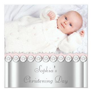 Baptême blanc rose de photo de bébé carton d'invitation  13,33 cm