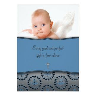 Baptême bleu de photo de bébé carton d'invitation  12,7 cm x 17,78 cm