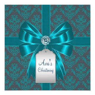 Baptême bleu turquoise de baptême de bébé de carton d'invitation  13,33 cm