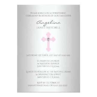 Baptême croisé rose argenté élégant de baptême de carton d'invitation  12,7 cm x 17,78 cm