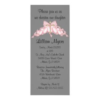 Baptême croisé rose élégant chic/baptême carton d'invitation  10,16 cm x 23,49 cm