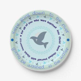 Baptême de célébration plaques à papier de 7 assiettes en papier