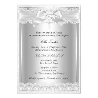 Baptême de dentelle et de croix/invitation de carton d'invitation  12,7 cm x 17,78 cm