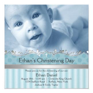 Baptême élégant de photo de garçons de rayure carton d'invitation  13,33 cm