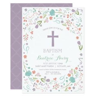Baptême, invitation de baptême - fleurs, croix