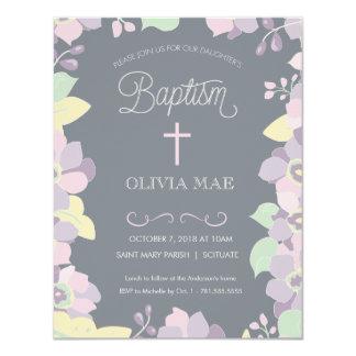 Baptême, invitation de baptême - fleurs et croix