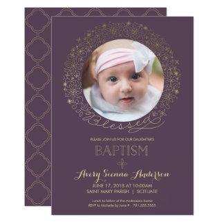 Baptême, invitation de photo de baptême, fille