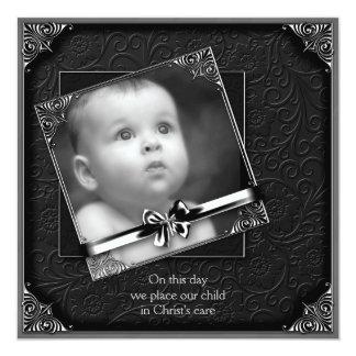 Baptême noir de photo de bébé carton d'invitation  13,33 cm