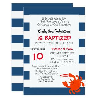 Baptême personnalisé par crabe nautique de marine carton d'invitation 8,89 cm x 12,70 cm