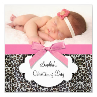 Baptême rose de filles de léopard carton d'invitation  13,33 cm