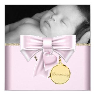 Baptême rose de photo de bébé d'or carton d'invitation  13,33 cm