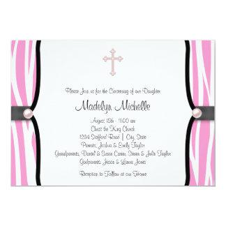 Baptême rose de zèbre carton d'invitation  12,7 cm x 17,78 cm