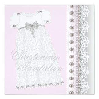 Baptême rose et gris de bébé de robe carton d'invitation  13,33 cm
