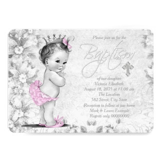 Baptême rose et gris vintage adorable carton d'invitation  12,7 cm x 17,78 cm