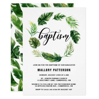 Baptême tropical de guirlande de feuille carton d'invitation  12,7 cm x 17,78 cm