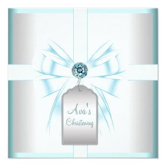 Baptême turquoise blanc de baptême de bébé bleu carton d'invitation  13,33 cm