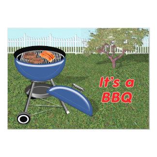 Barbecue d'arrière cour, de barrière, d'arbre et carton d'invitation  12,7 cm x 17,78 cm