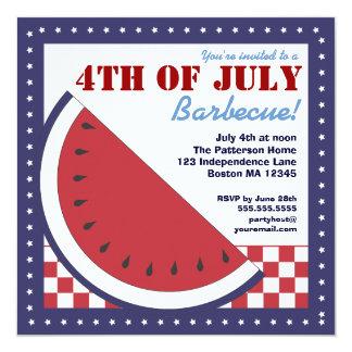 Barbecue patriotique de pastèque 4 juillet carton d'invitation  13,33 cm