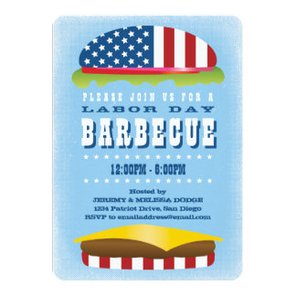 Barbecue patriotique d'hamburger de Fête du Carton D'invitation 12,7 Cm X 17,78 Cm