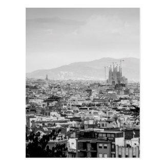 Barcelone noire et blanche carte postale
