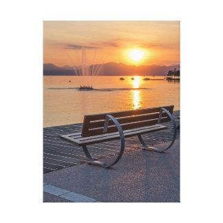 Bardolino, coucher du soleil sur la copie de toile