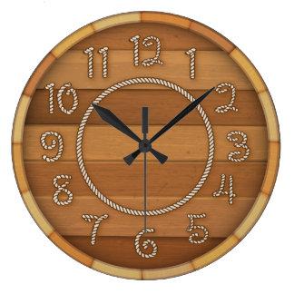 Baril de bière en bois de temps occidental de grande horloge ronde