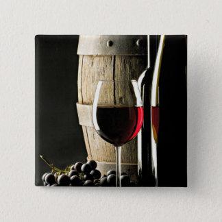 Baril de vin, raisins, et verre badge carré 5 cm
