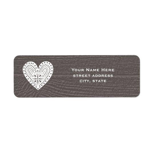 Barnwood a inspiré l'étiquette de adresse de coeur étiquettes d'adresse retour