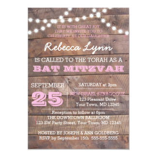 Barnwood allume l'invitation rose de bat mitzvah carton d'invitation  12,7 cm x 17,78 cm