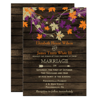 Barnwood, prune rustique d'automne laisse le carton d'invitation  12,7 cm x 17,78 cm
