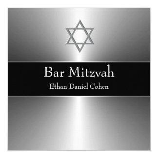 Barre argentée noire Mitzvah d'étoile de David Carton D'invitation 13,33 Cm