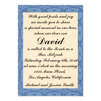 Barre bleue Mitzvah de diamants/invitation Carton D'invitation 12,7 Cm X 17,78 Cm