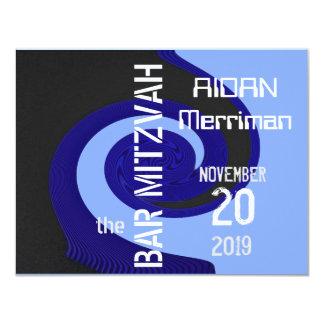 Barre bleue Mitzvah de vague Carton D'invitation 10,79 Cm X 13,97 Cm