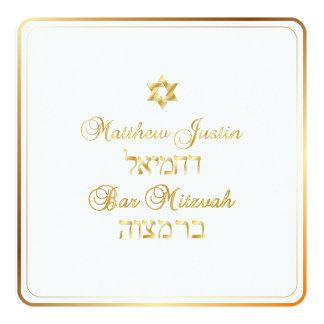 Barre classique de PixDezines Mitzvah/or Carton D'invitation 13,33 Cm
