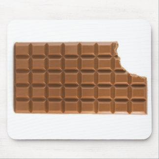 Barre de chocolat avec un tapis de souris absent d
