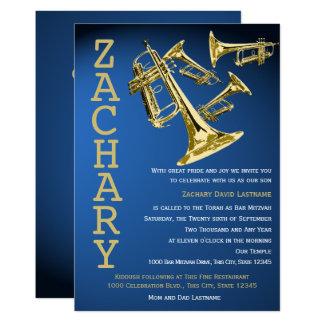 Barre d'or bleue de musique de manie de trompette carton d'invitation  12,7 cm x 17,78 cm
