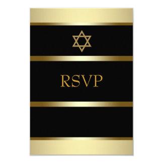 Barre d'or noire Mitzvah RSVP Carton D'invitation 8,89 Cm X 12,70 Cm