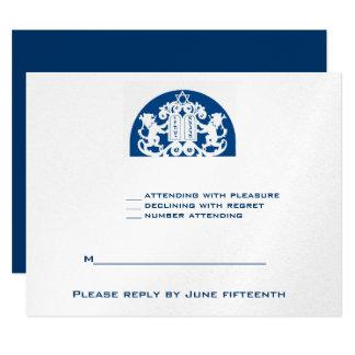Barre juive Mitzvah RSVP d'argent de lions de Carton D'invitation 10,79 Cm X 13,97 Cm