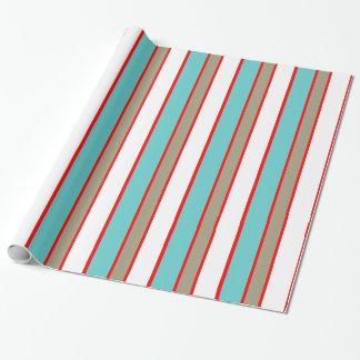 Barre le blanc rouge-brun bleu papier cadeau