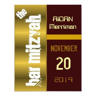 Barre métallique Mitzvah de batte d'or Carton D'invitation 10,79 Cm X 13,97 Cm