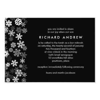 Barre Mitzvah de bord de flocon de neige Carton D'invitation 12,7 Cm X 17,78 Cm