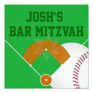 Barre Mitzvah de diamant de base-ball de ✡ de Carton D'invitation 13,33 Cm