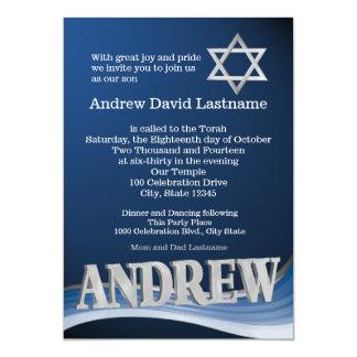 Barre Mitzvah de nom de vague de bleu en acier Carton D'invitation 12,7 Cm X 17,78 Cm