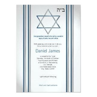 Barre Mitzvah d'étoile de David Carton D'invitation 13,97 Cm X 19,05 Cm