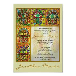 Barre Mitzvah - Hamsa d'or et colombes de paix Carton D'invitation 12,7 Cm X 17,78 Cm