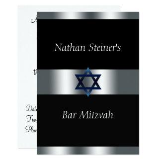 Barre Mitzvah, noir et argent, invitation élégante