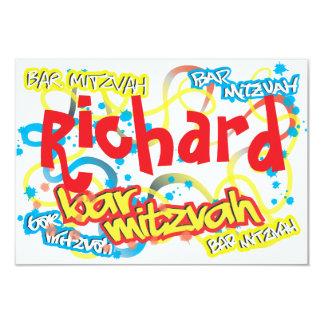Barre Mitzvah RSVP de graffiti Carton D'invitation 8,89 Cm X 12,70 Cm